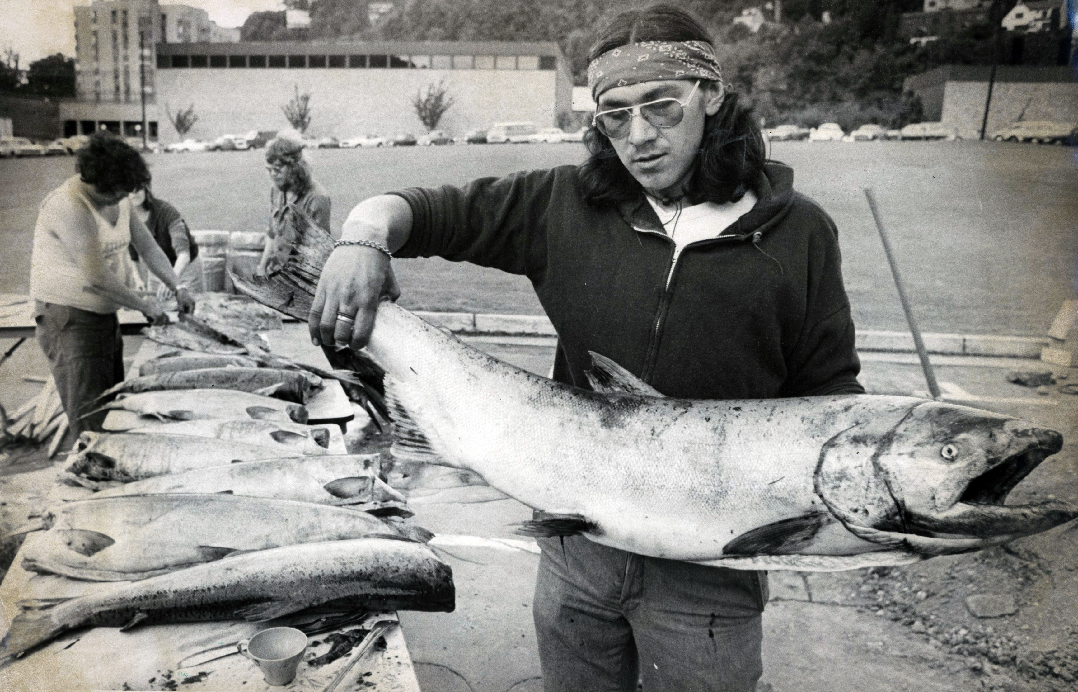 Mike Hunter attends the PSU salmon bake with the United Indian Students of Higher Education, 1978