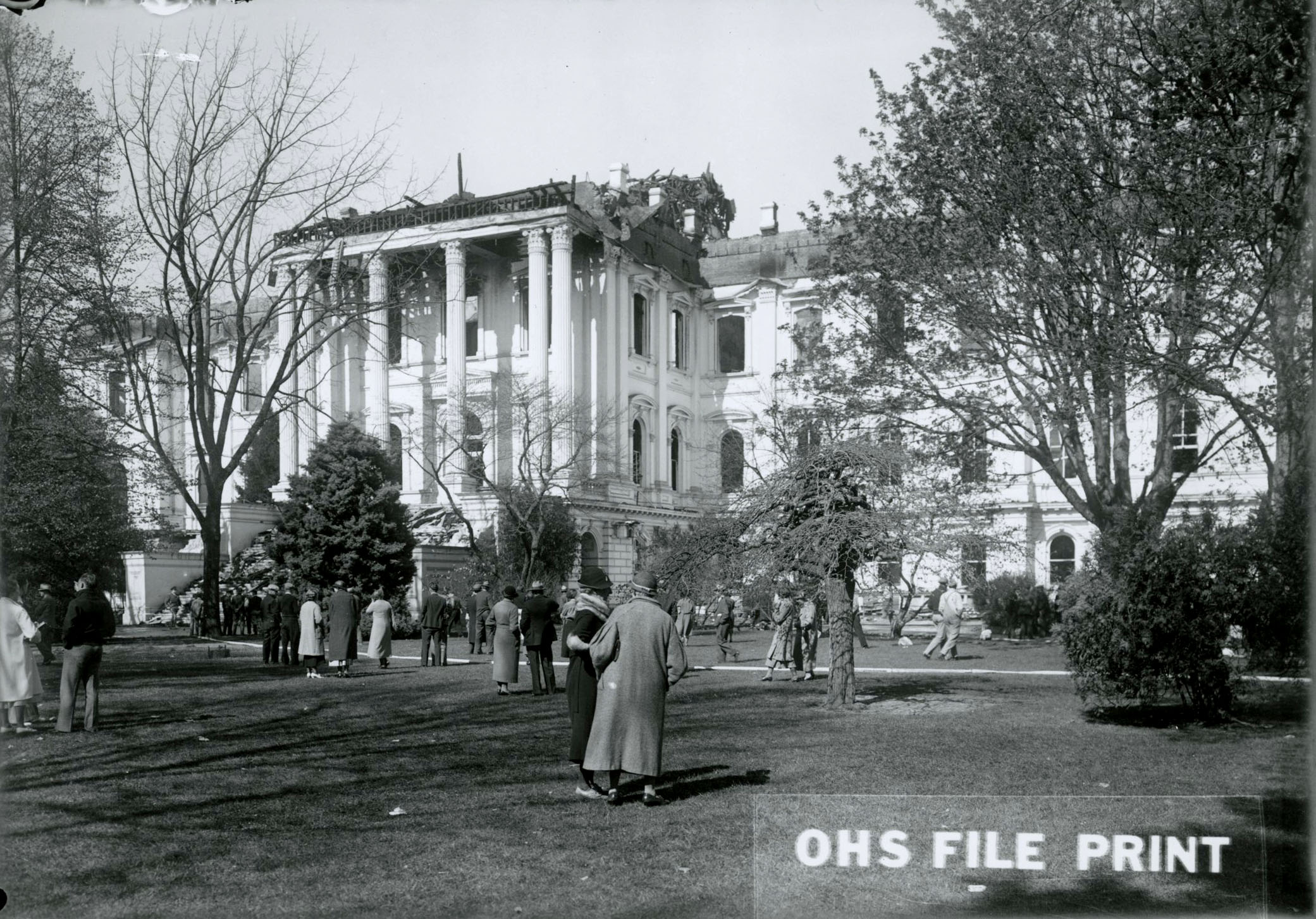 Oregon State Capitol after the fire, Salem, 1935