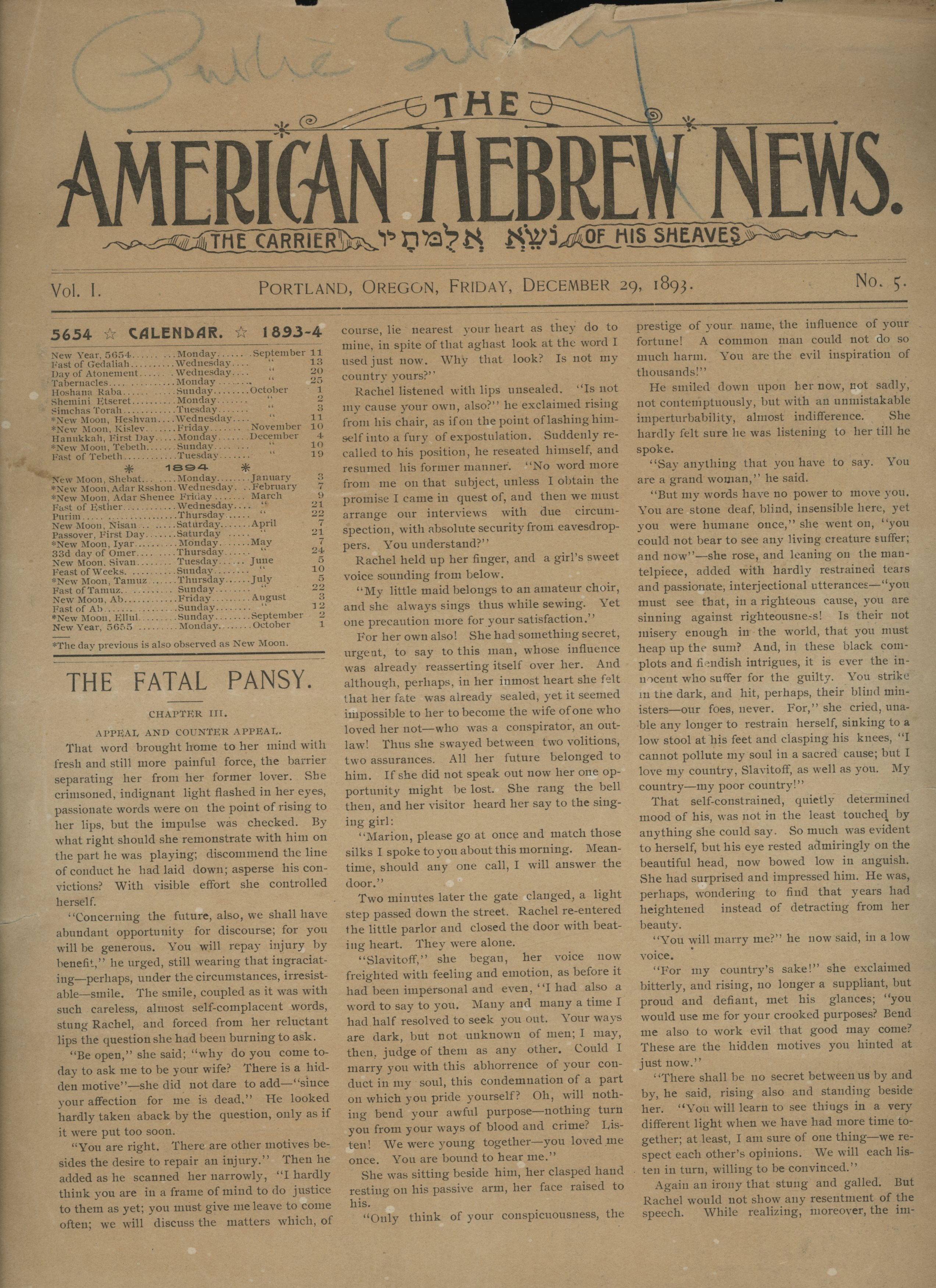 Front page of the American Hebrew News, Dec. 29, 1893, published in Portland
