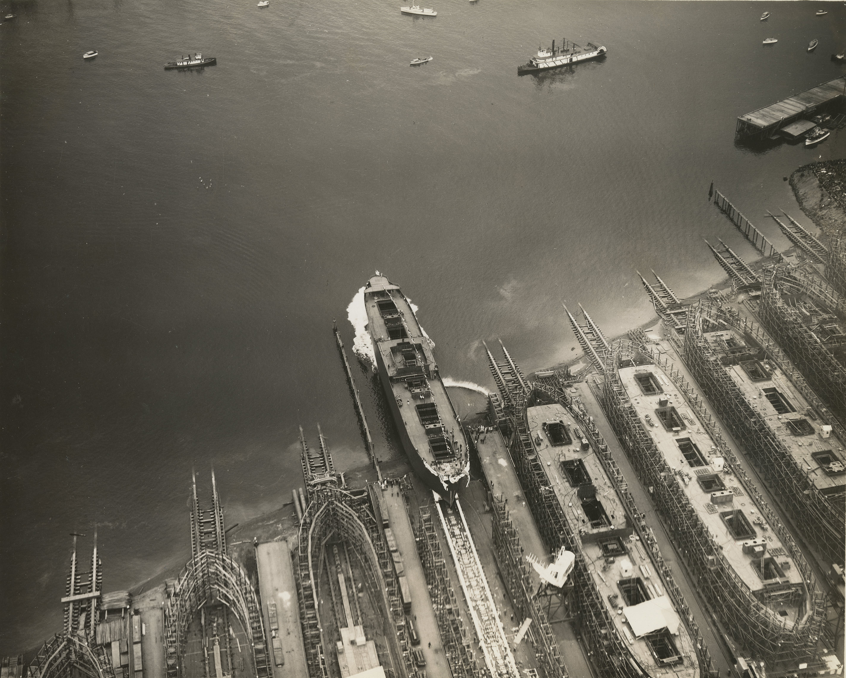 Aerial view of hull launching, c.1944