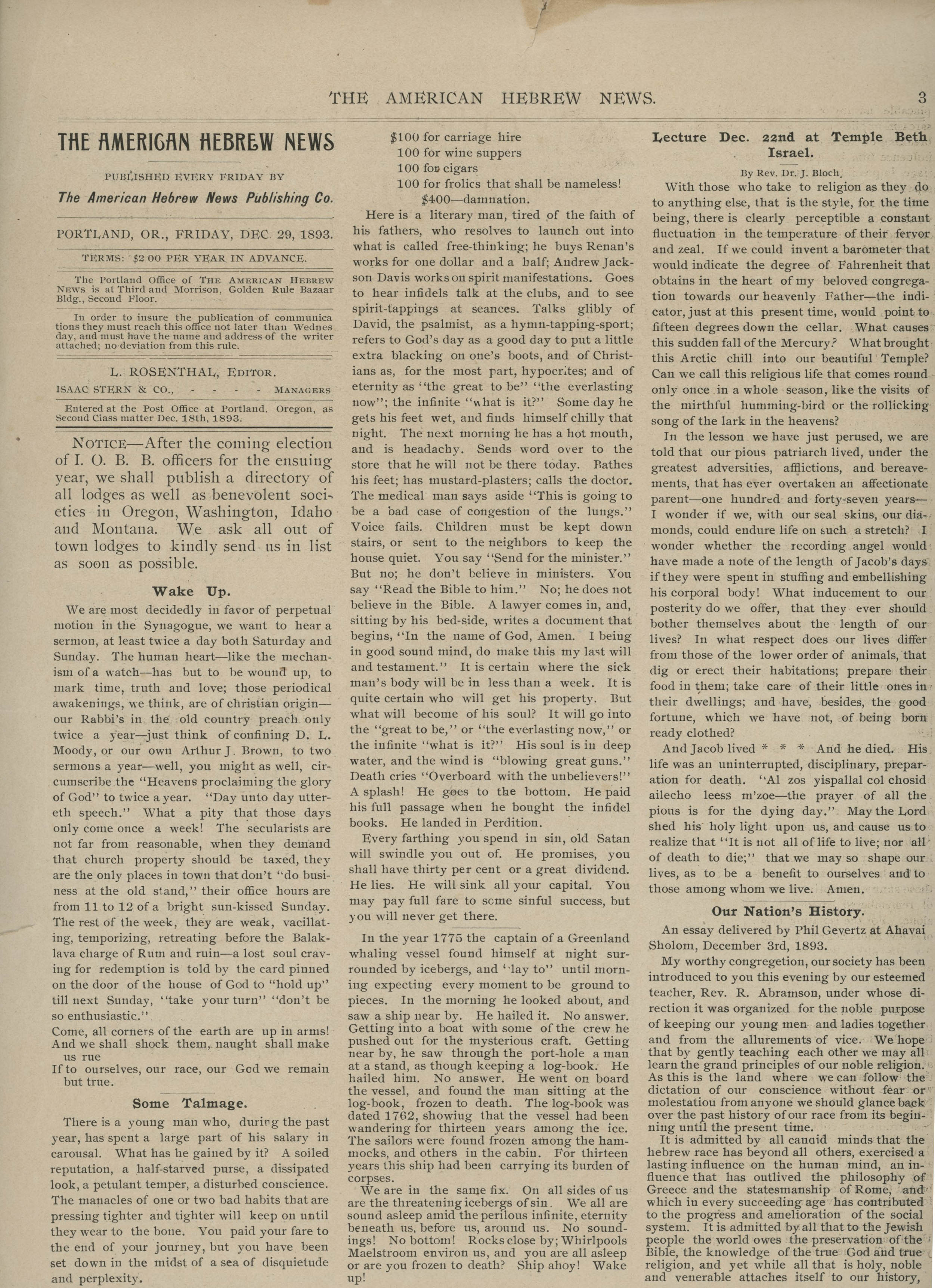 First page of American Hebrew News, Dec. 29, 1903
