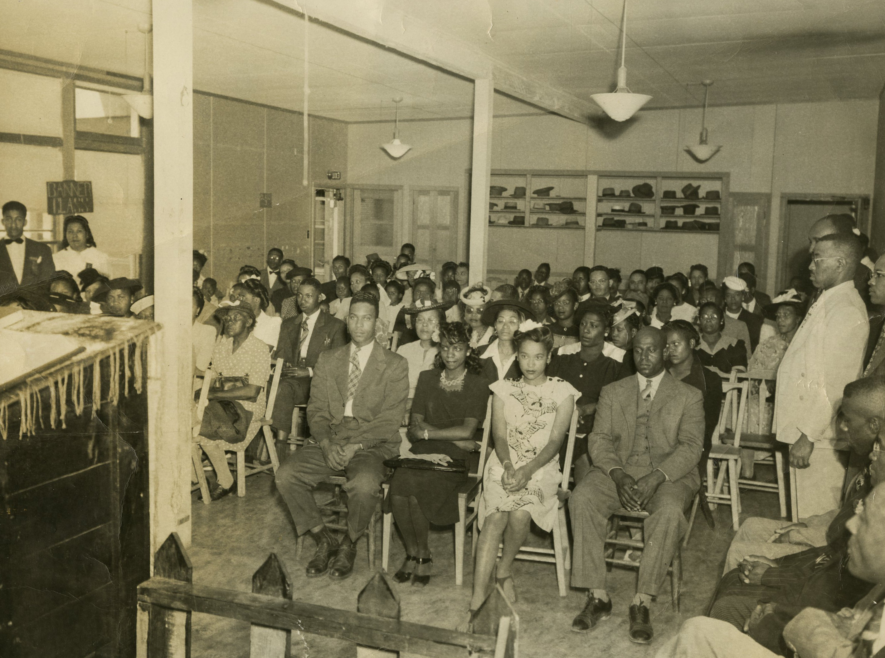 O.B. Williams holds a service at Burton Homes 1945
