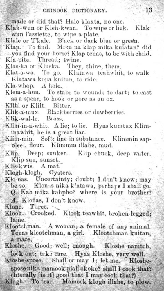 Chinook Jargon dictionary, 1888, p.13