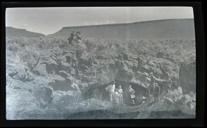 William, Irene, and Phoebe Finley, mouth of Malheur Cave, 1917