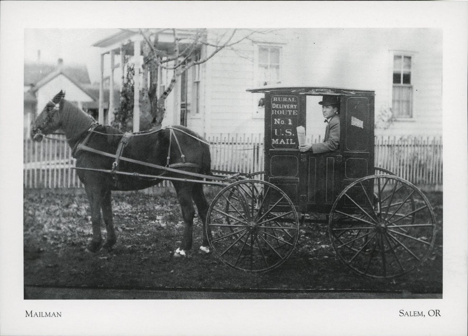 Fred Gunning horse and buggy, mail route, Salem, 1907