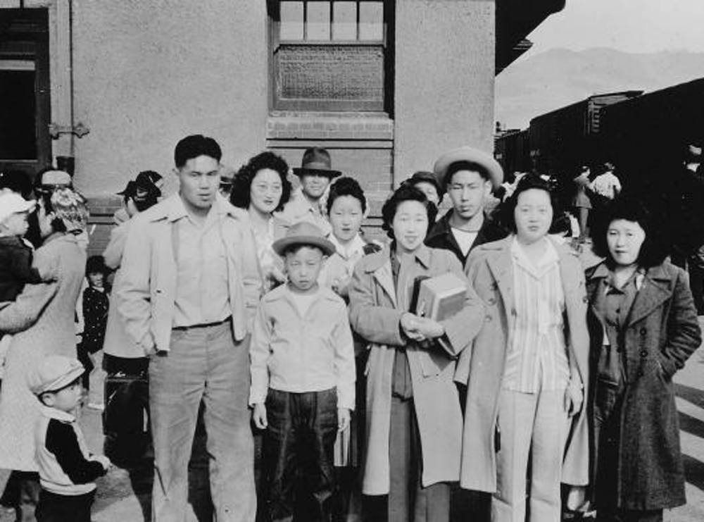 Japanese Am, being evacuated from Hood River, 1942