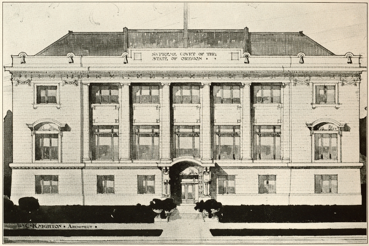 Oregon Supreme Court building drawing by William C. Knighton, architect, c.1912.