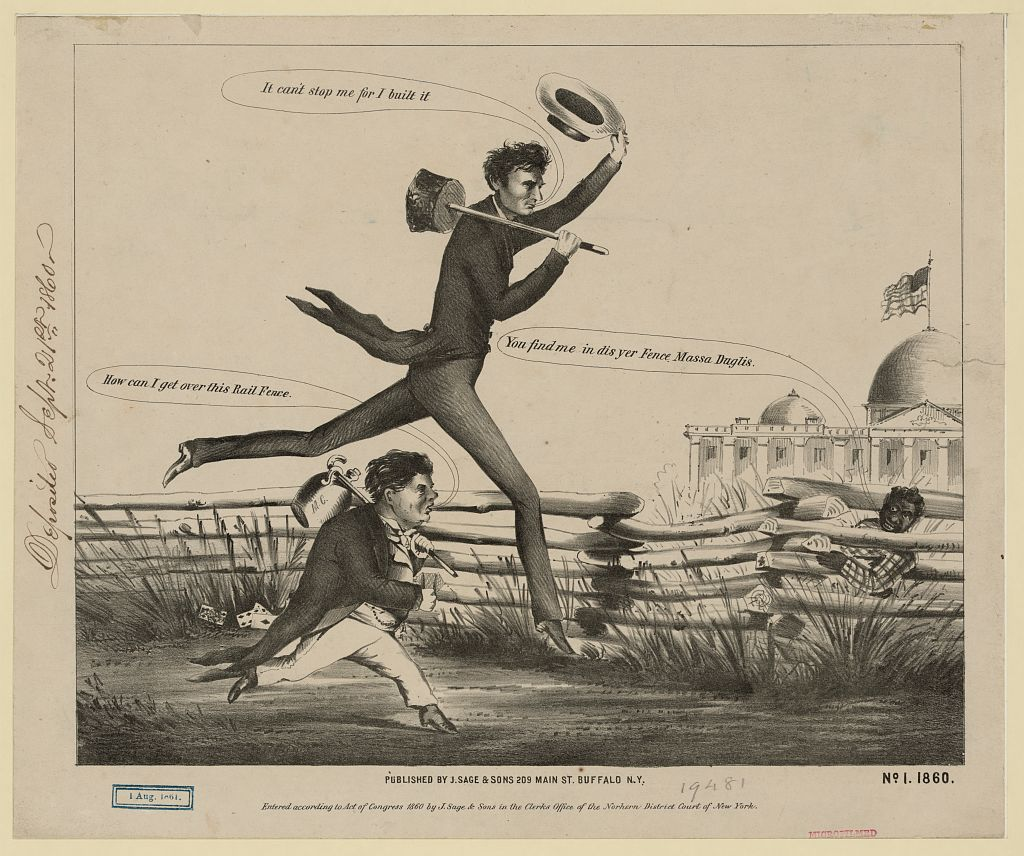 Political cartoon: Lincoln and Douglas in a presidential footrace, 1860