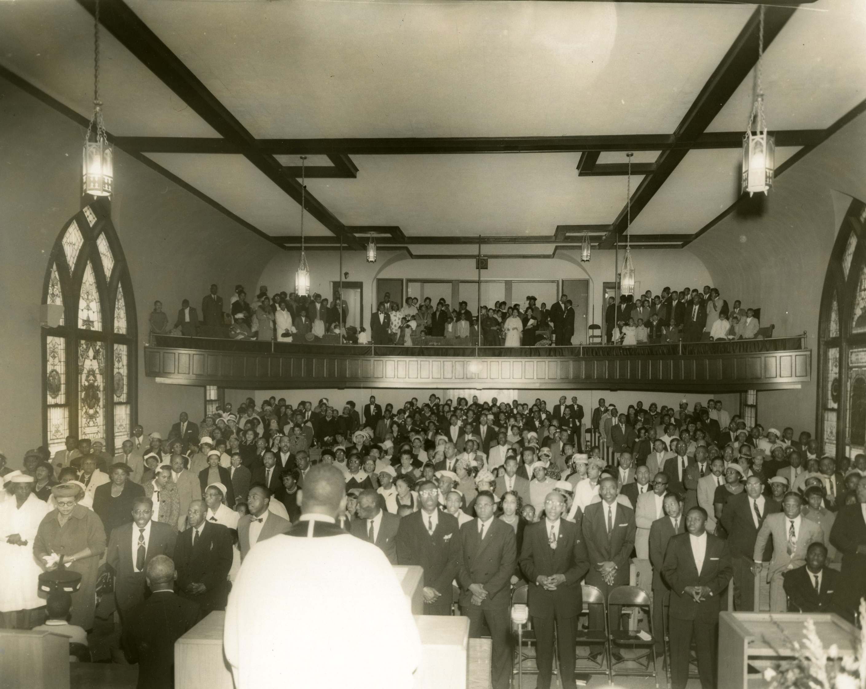 Rev. O.B. Williams leads services at the Vancouver Ave. First Baptist, 1961