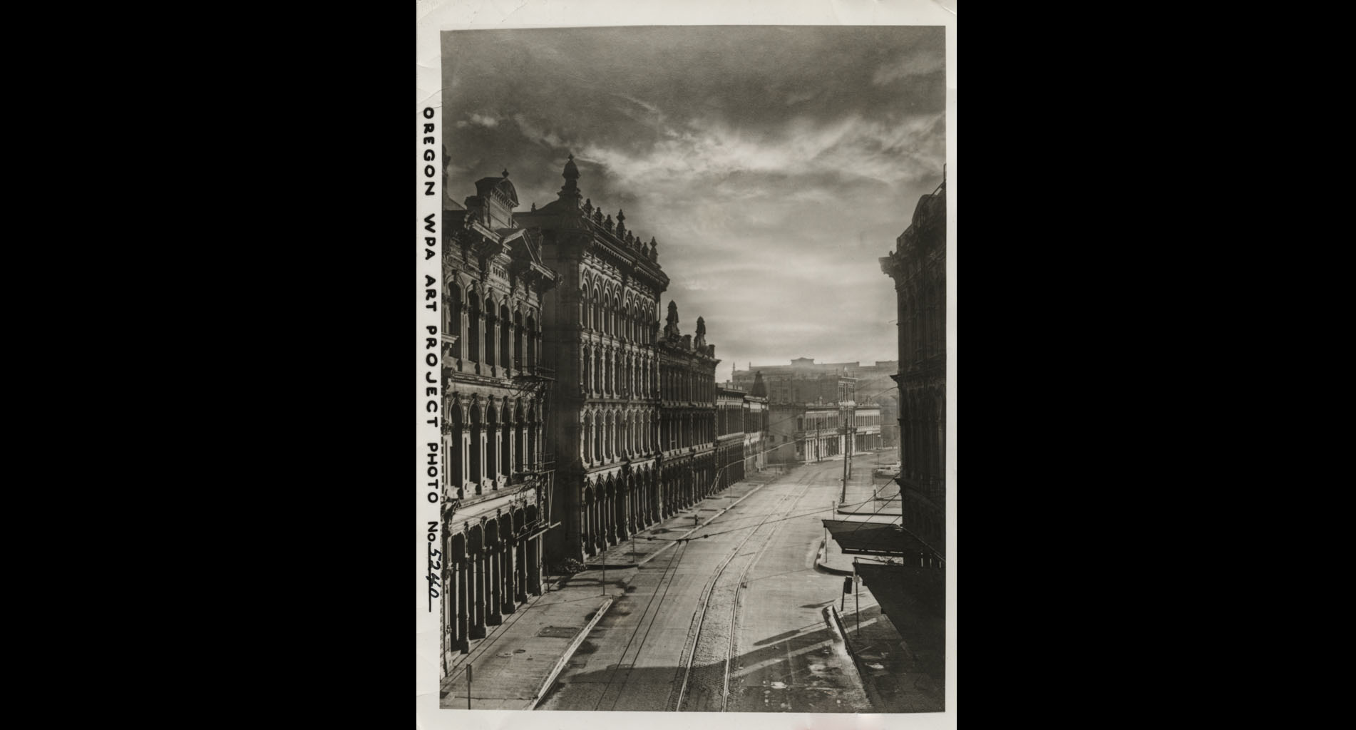 Oregon WPA Art Project Photo. Front Avenue, view south from the Burnside Bridge, late 1938.