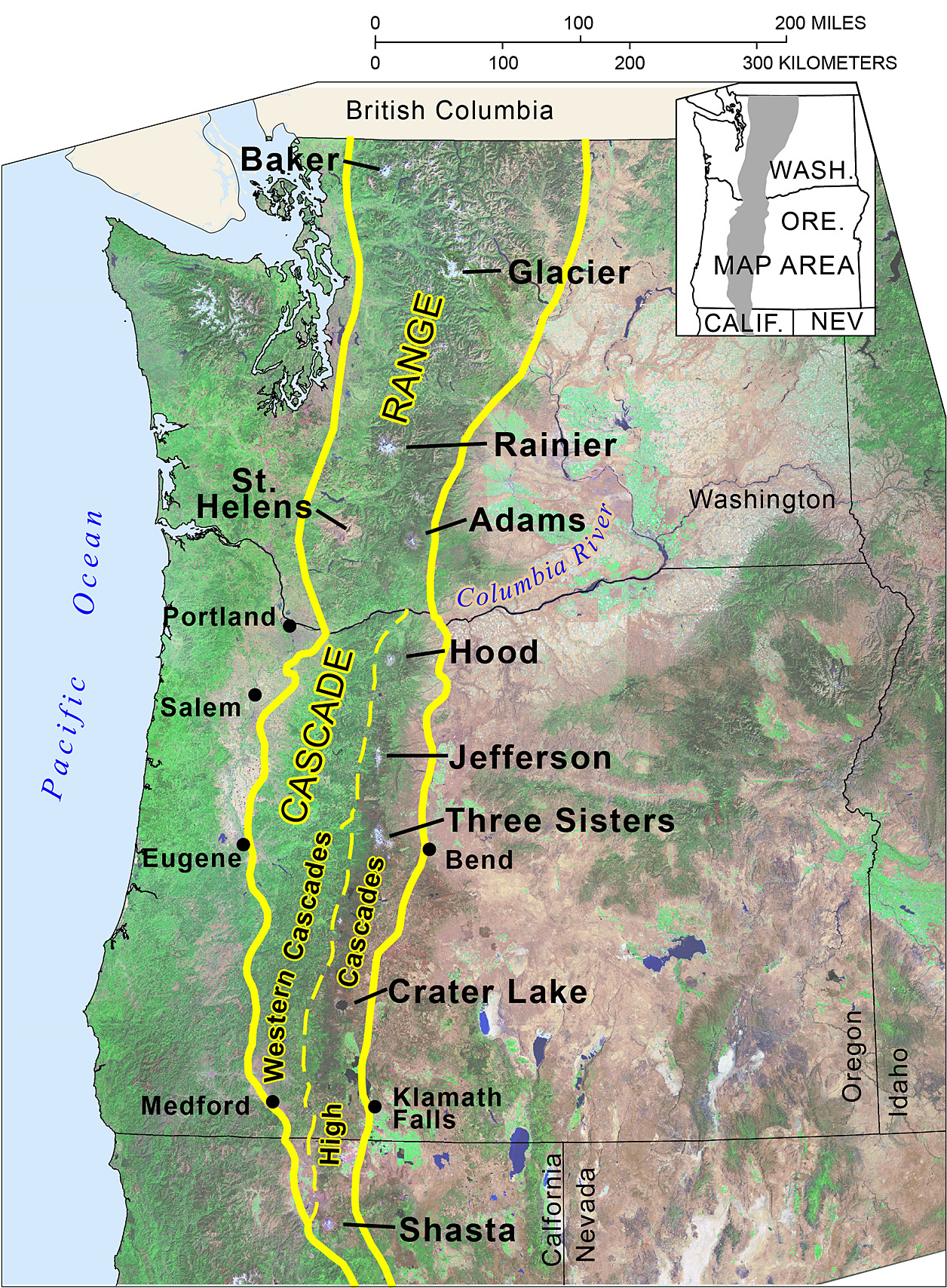 Cascade Mountain Range In Oregon - Us map with nountains