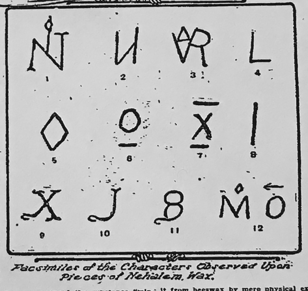 """Facsimiles of the Characters Observed Upon Pieces of Nehalem Wax,"" published in the Oregonian, April 25, 1915"
