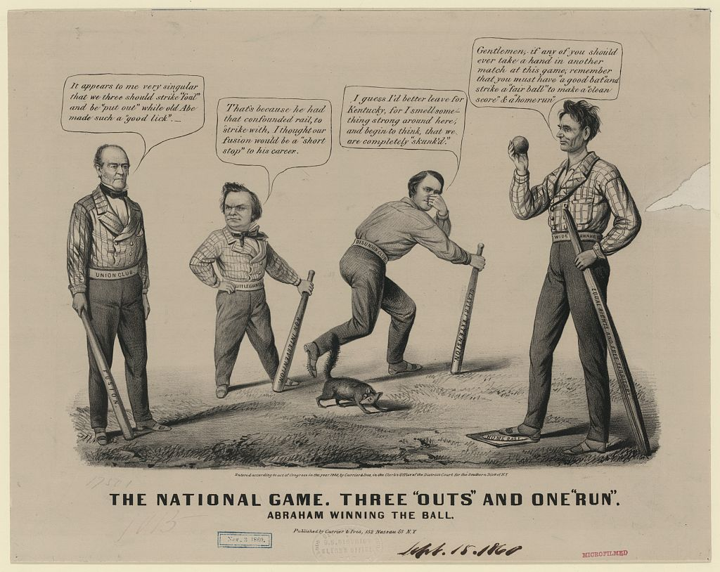 Political cartoon: The National Game, with John Bell, Stephen Douglas, John Breckinridge, Lincoln, 1860