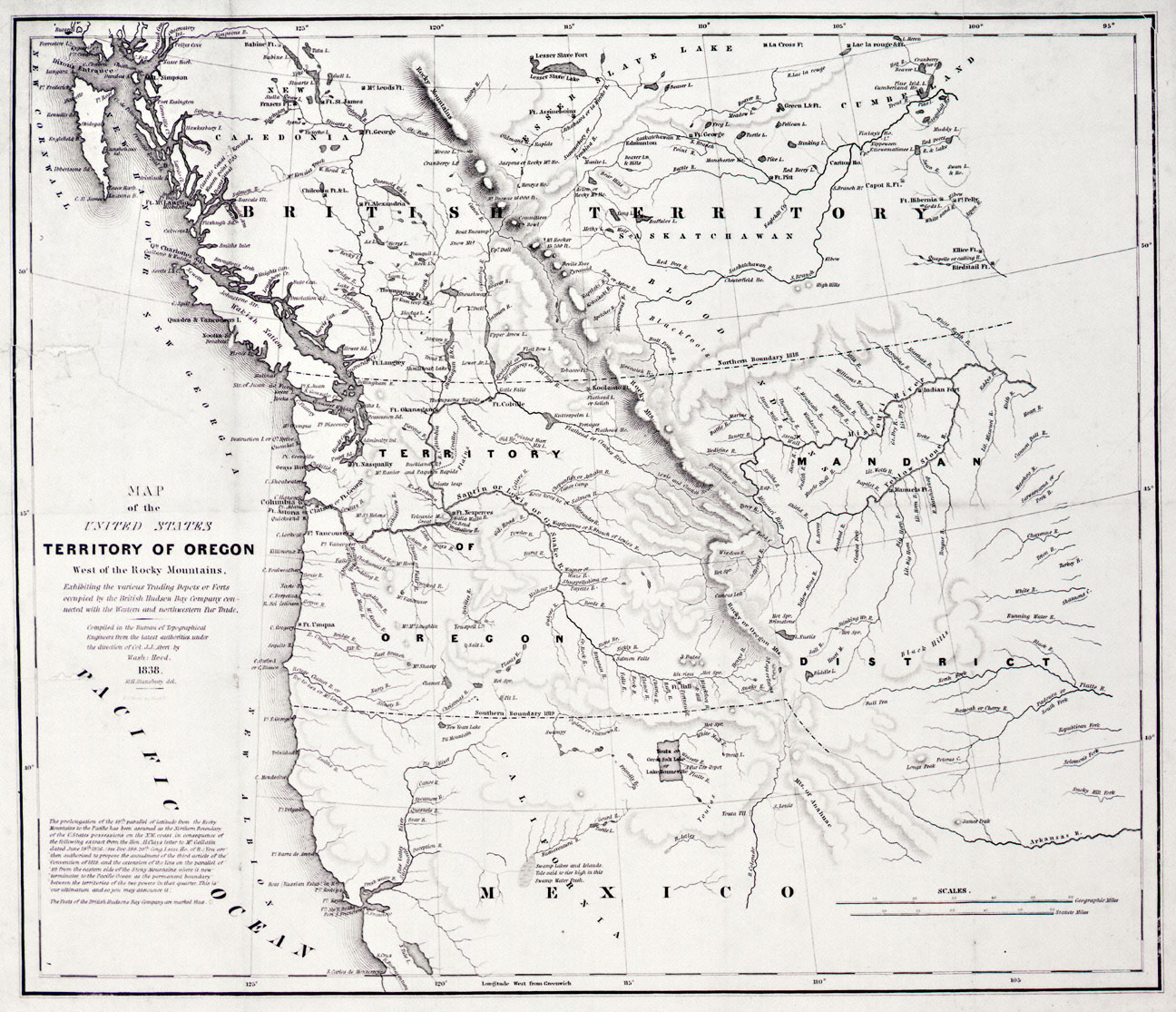 Cartography Of Oregon - Us in 1800 black and white map
