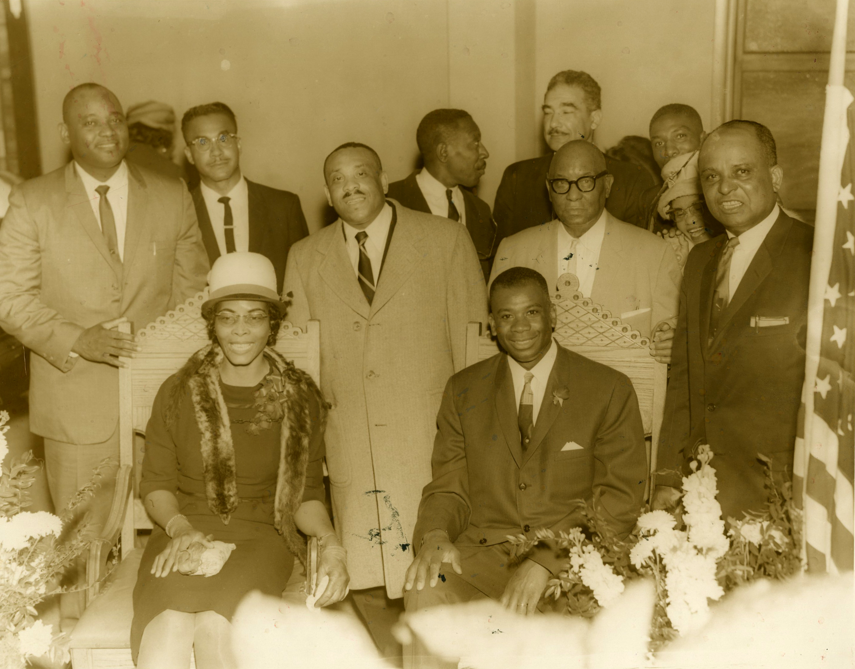 Willa Ida and Rev. O.B. Williams meet with local and associate ministers, 1966