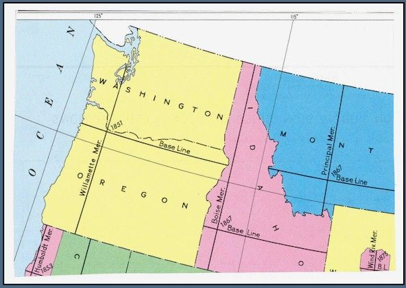 Cadastral Map Usa : Willamette stone and meridian