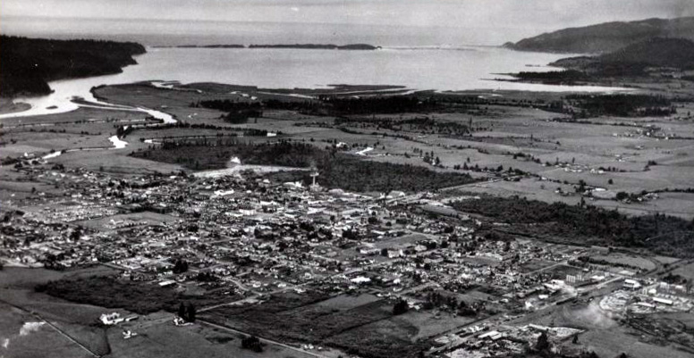 Aerial view of Tillamook and Tillamook Bay, 1947