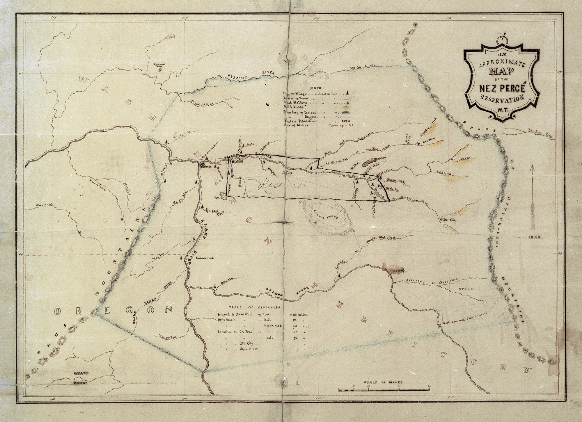 Approximate map of Nez Perce Reservation, c. 1855
