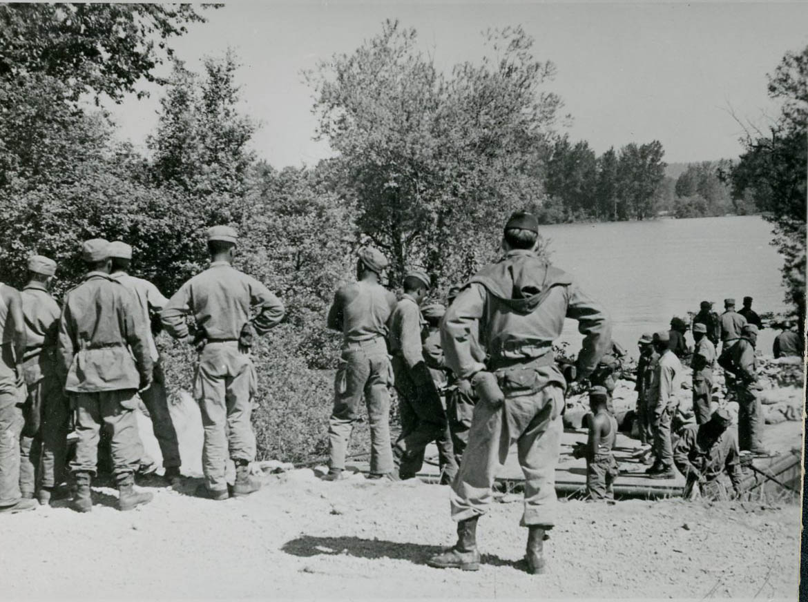 Black troops from Fort Lewis work on flood control in Vanport, 1948