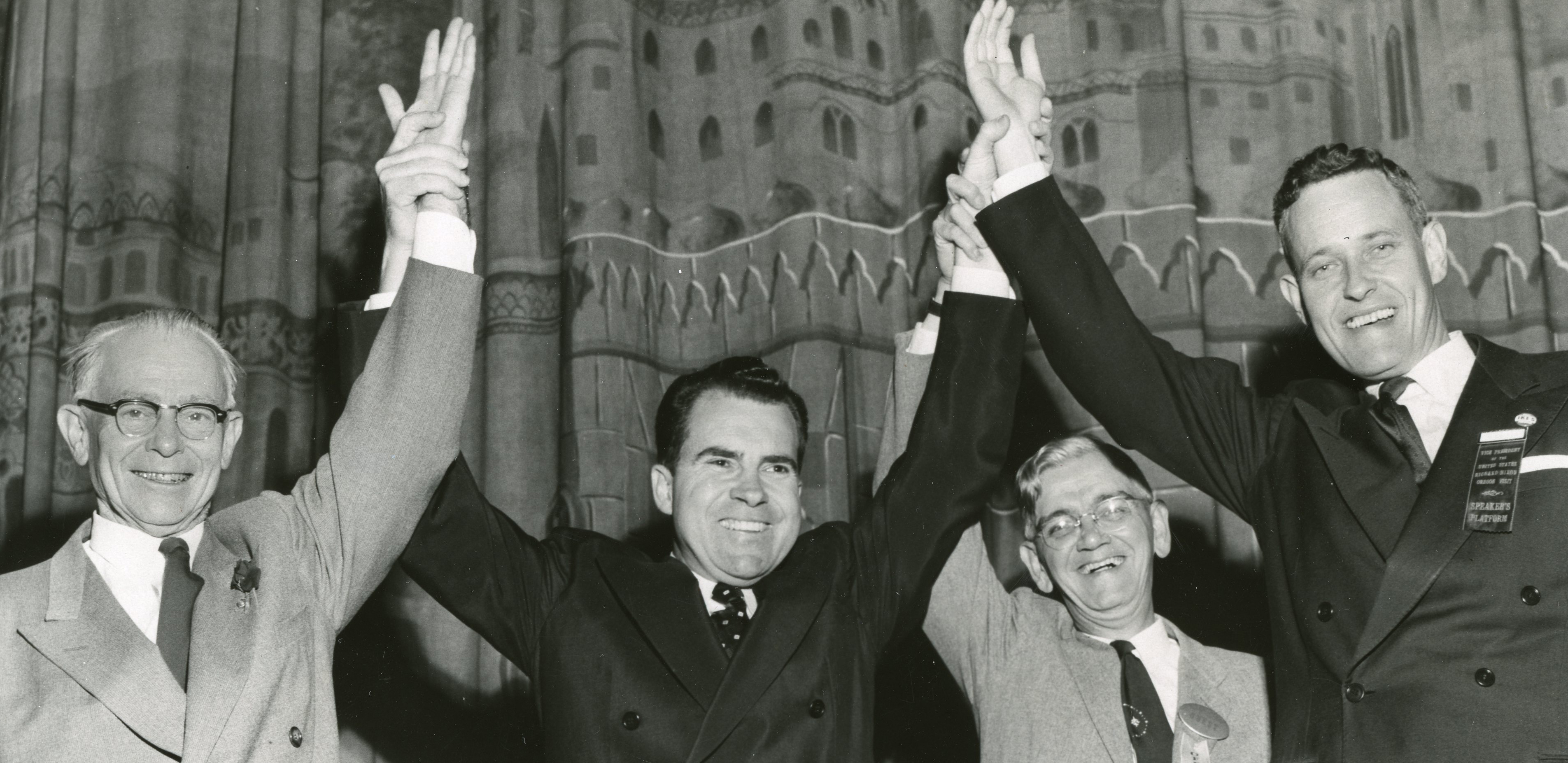 McCall and Nixon, 1954, at an Oregon masonic temple