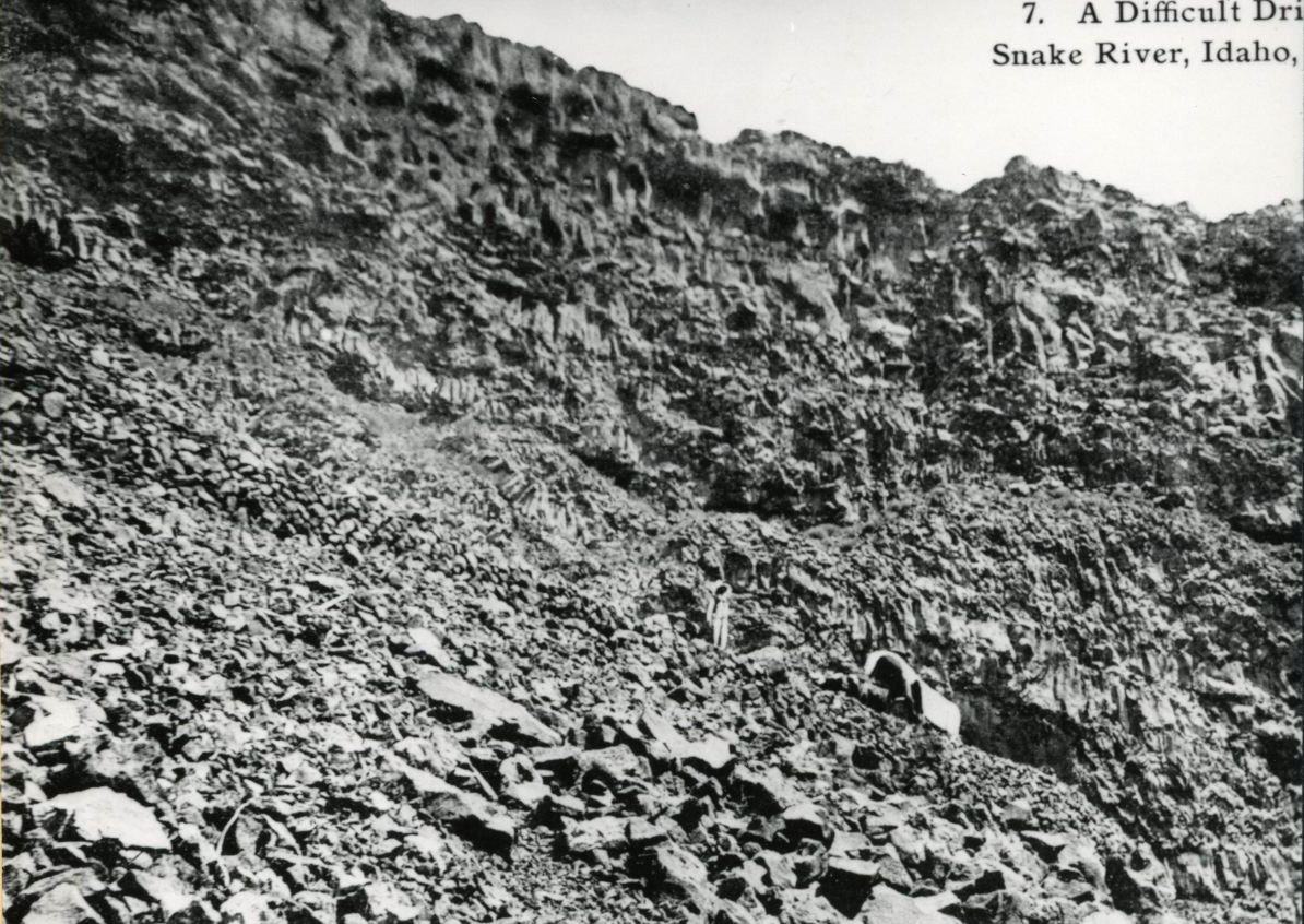 Sharp incline up from the Snake River, 1910, Idaho