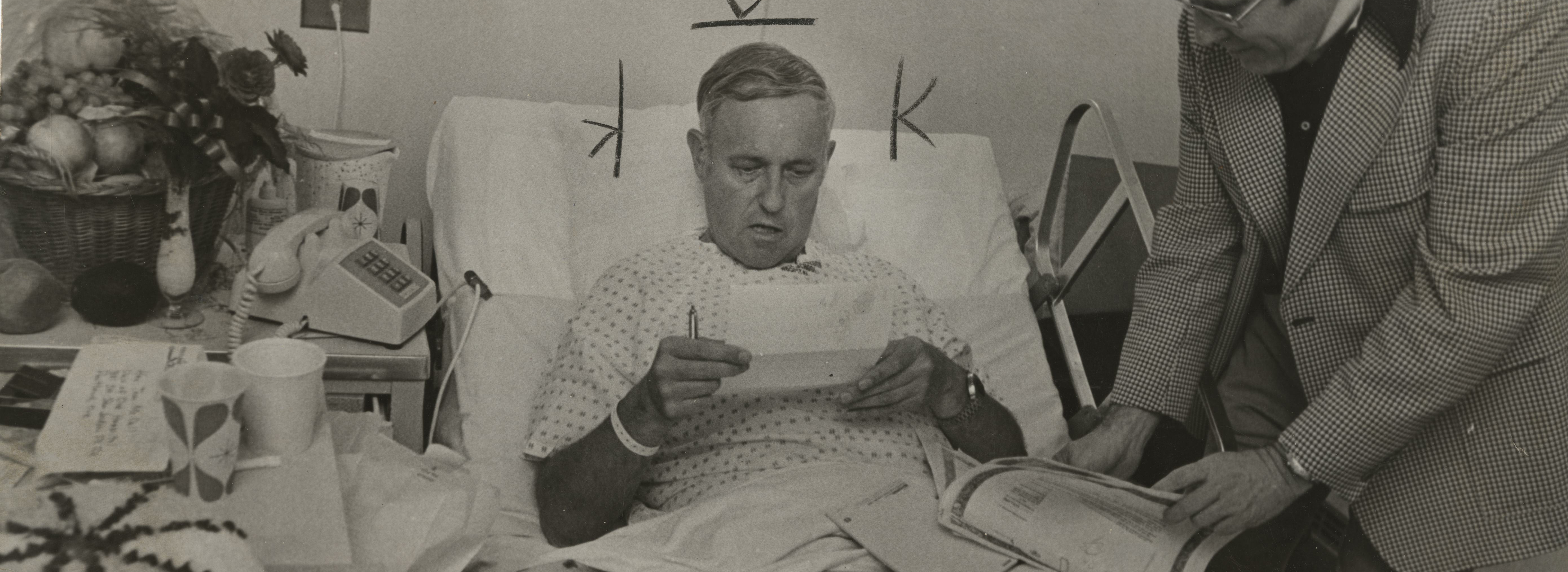 McCall working from his hospital bed, Aug. 1, 1973