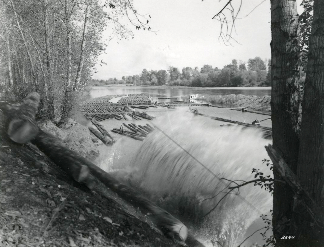 Logs plunge downhill into the water, Pope & Talbot, Dallas, Oregon
