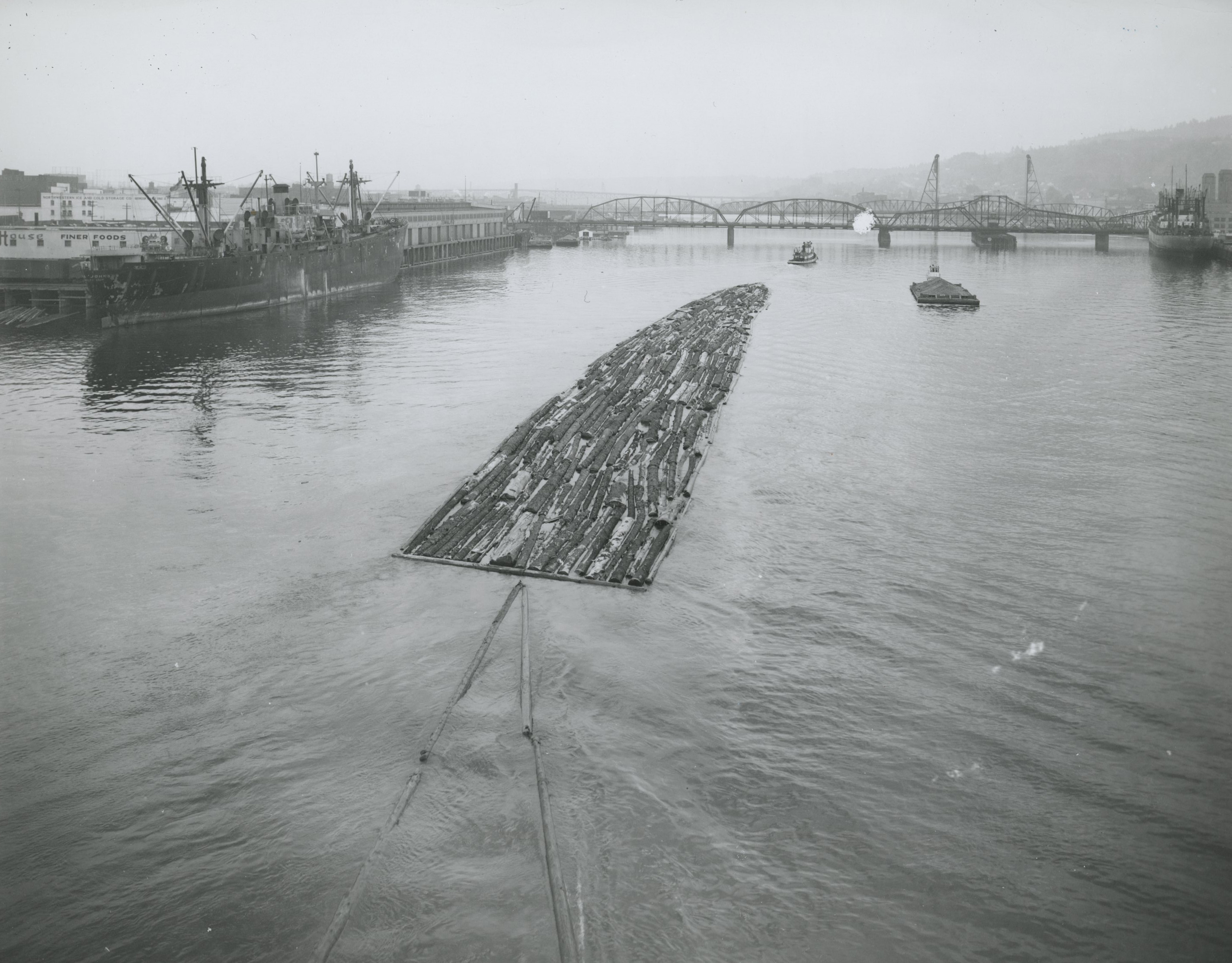 Log rafts on the Willamette River, 1947