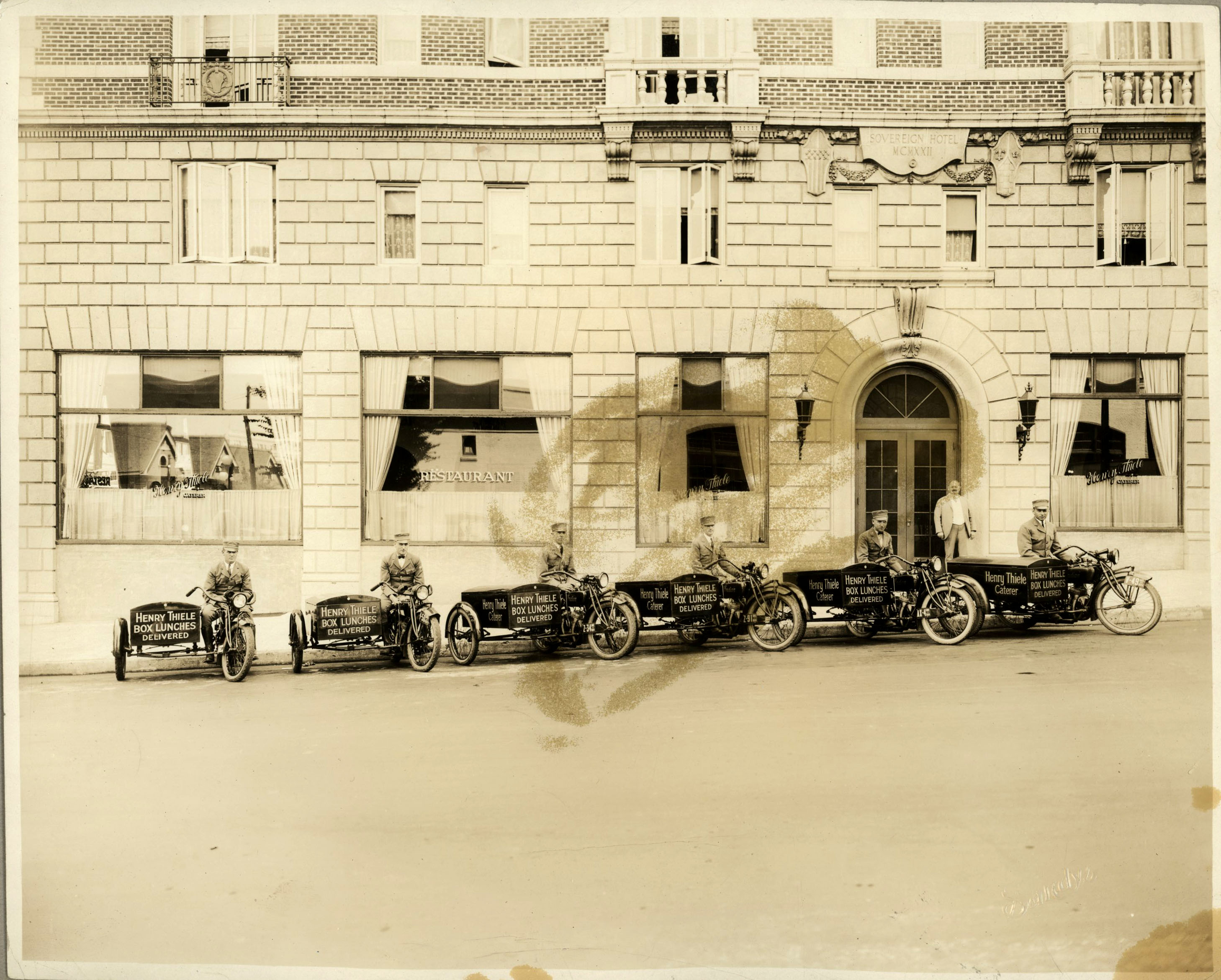 Delivery bikes lined up outside Thiele's restaurant in the Sovereign Hotel