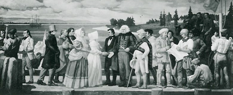 McLoughlin meeting with missionaries, mural