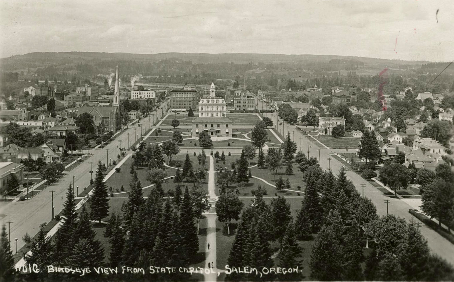 View of Willson Park, Marion County Courthouse, and post office, from capitol dome, Salem