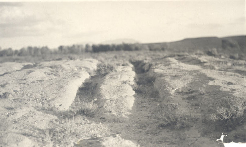 Ruts left from wagons on the Oregon Trail, near Stillwater Creek; taken in the 1930s.