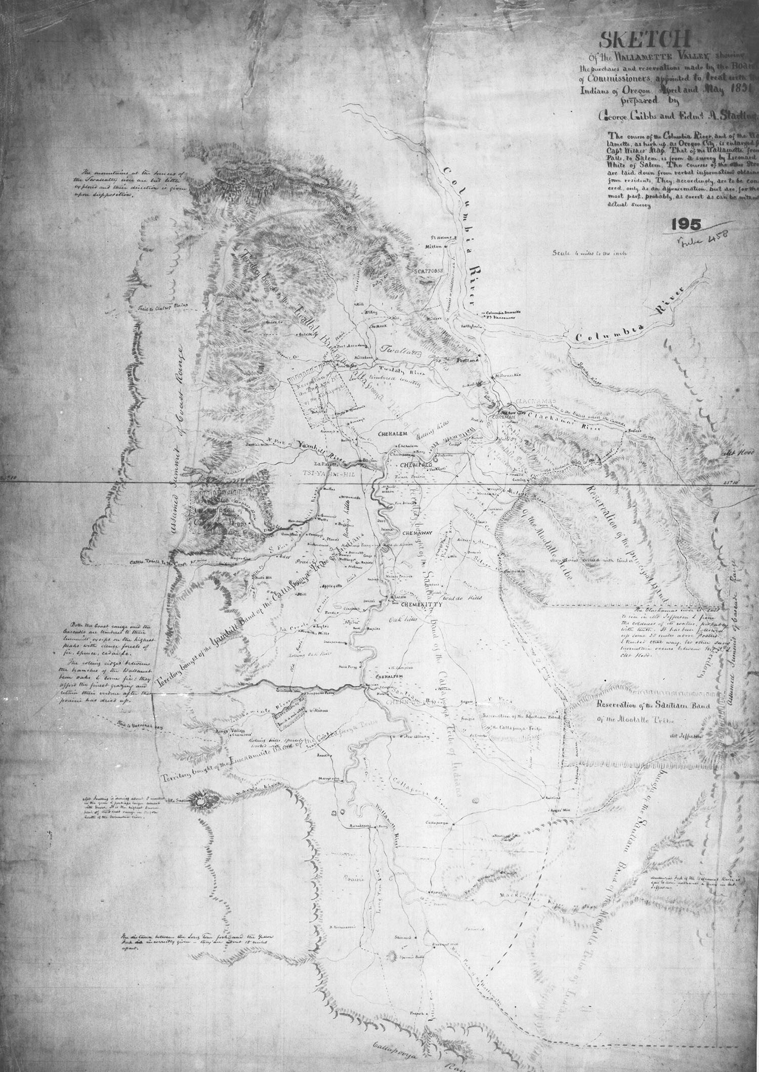 Sketch of the Wallamette Valley, George Gibbs and Edmund Starling, 1851