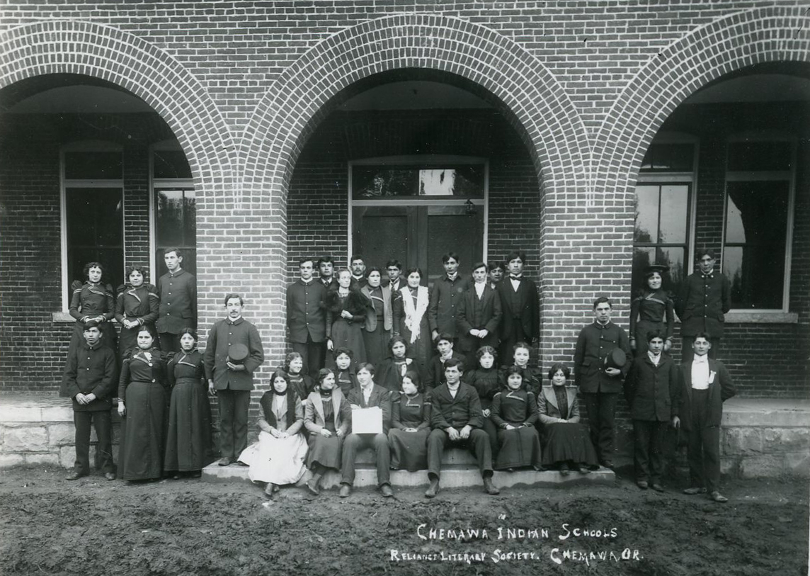 Students of Reliance Literary Society, Chemawa, 1887. Courtesy Oregon Hist. Soc. Research Lib., 0173G015.