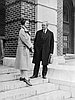 John Bennes with Ruth Glassow on the steps of the Women's Buidling, Oregon State University, Dec. 1926.