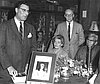 Alvin Josephy (left) at release of his book The Nez Perce Indians and the Opening of the Northwest in 1965. To Josephy's left is his wife Betty, Chester Kerr of Yale University Press, and Nez Perce elder C. Humphreys.