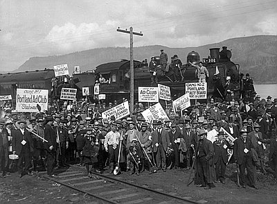 Road workers protest on Columbia River Hwy., April 25, 1914.